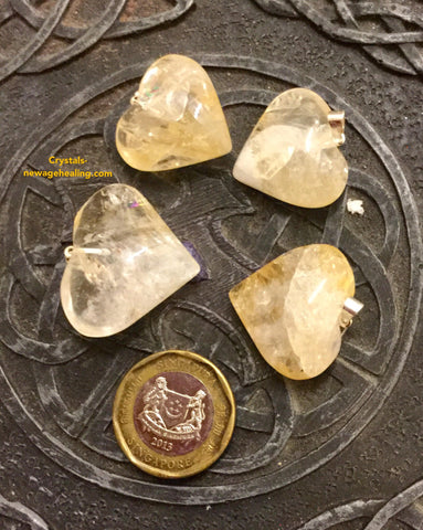 Pendant Citrine Crystal Heart Shaped