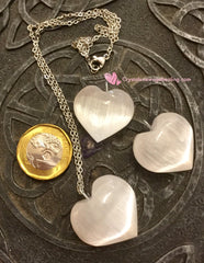 Crystal Selenite Pendant Heart shaped c/w stainless steel chain 50cm