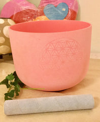 "Singing Bowls- Frosted 8"" Pink for Heart Chakra with Flower of Life Engraved"