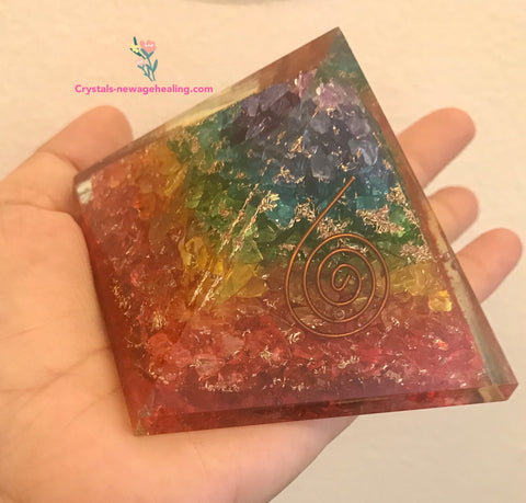 Orgone Rainbow Onxy Pyramid 60x60mm; diagonally 100mm