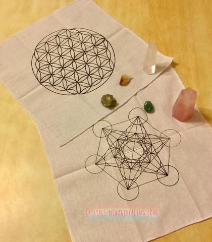 Grid cloth : Flower of Life   Metatron estimated 34 x 34 cm
