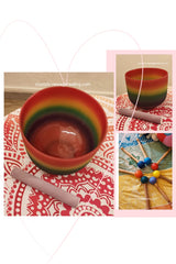 "Crystal Singing Bowl- Rainbow 8""   ( 九层糕 ) for Heart Chakra"