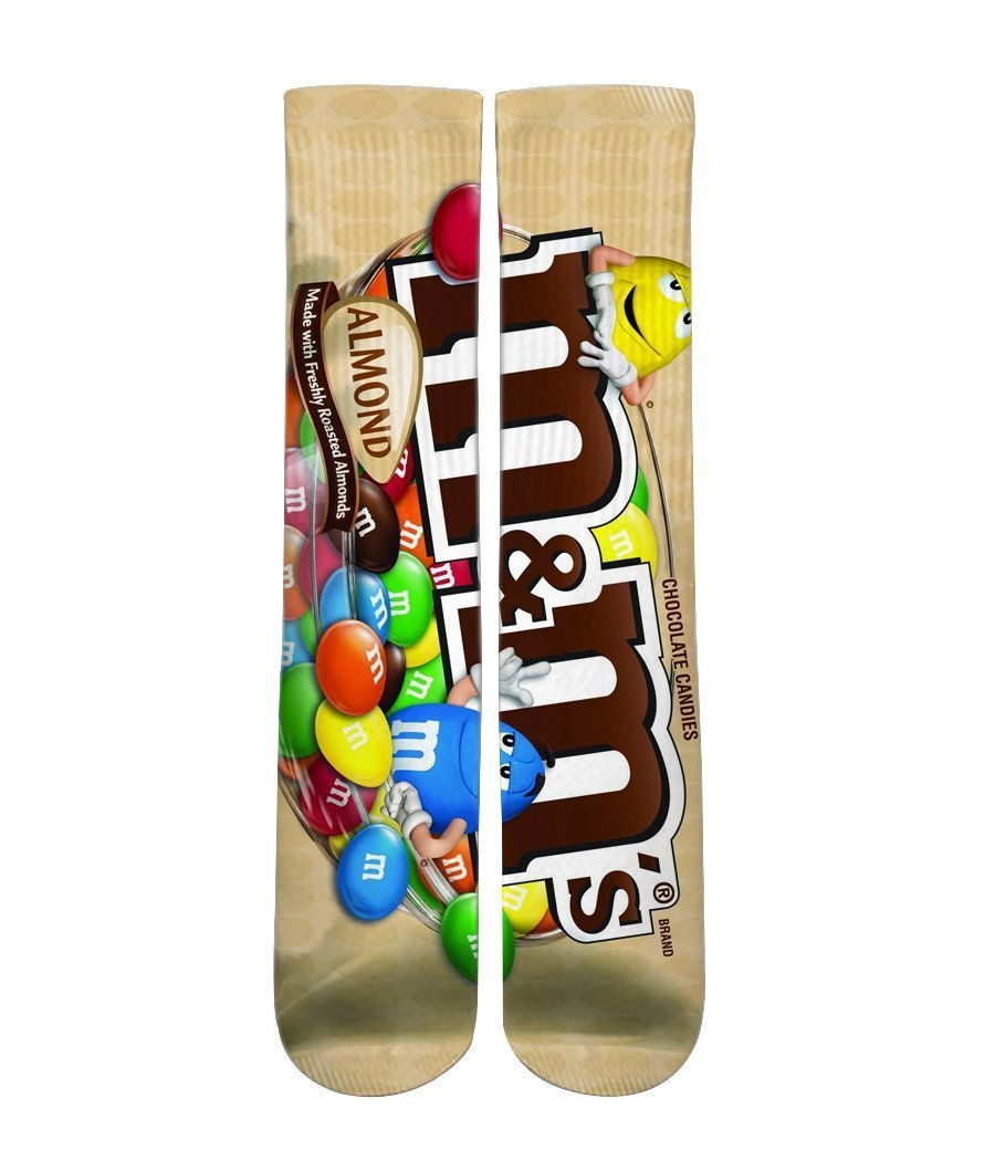 Almond M&M's printed crew socks - DopeSoxOfficial