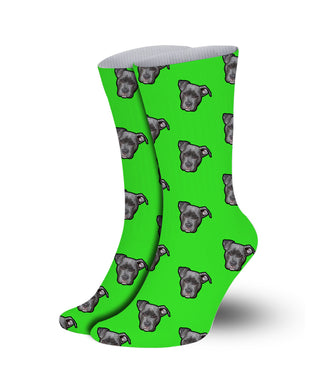 Neon color Pet socks-printed crew socks