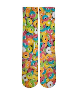 Sour Gummi Ring candy Elite printed crew socks - DopeSoxOfficial