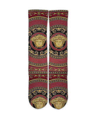 Versace Red printed crew socks - DopeSoxOfficial