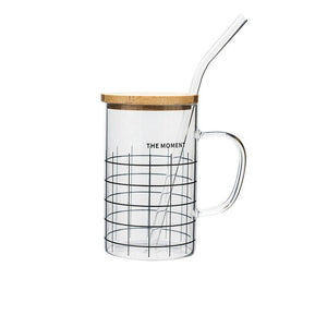 400ml Glass mug with lid & straw - BobaStrawStore