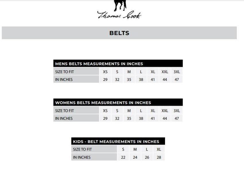 Thomas Cook Belts Size Guide
