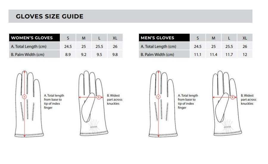 Thomas Cook Gloves Size Guide