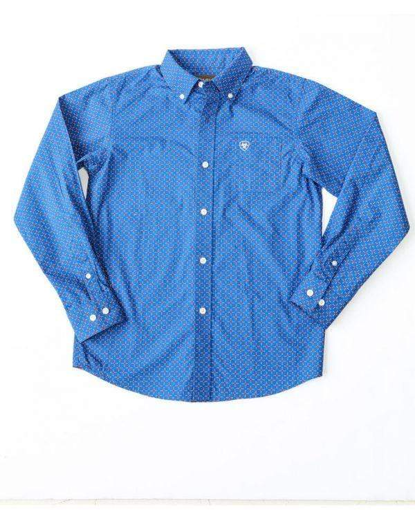 Ariat Kids Shirts Large / Classic Blue Ariat Boys Ohlinger Long Sleeve Shirt Classic Blue (10026465)