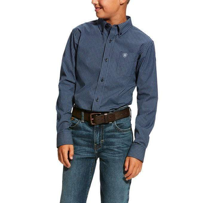 Ariat Kids Shirts Large / Navy Ariat Boys Denero Long Sleeve Shirt Navy