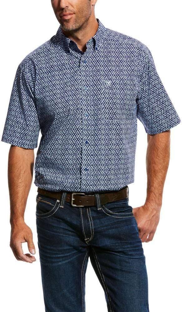 Ariat Mens Octavio Short Sleeve Shirt Patriot Blue (10026489) - Gympie Saddleworld & Country Clothing