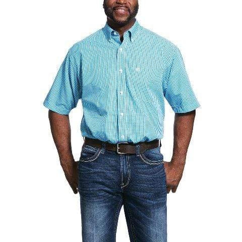 Ariat Mens Shirts Ariat Mens Wrinkle Free Short Sleeved Shirt Bluebird 10031906