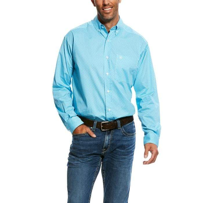 Ariat Mens Molson Long Sleeve Stretch Shirt Blue Radiance (10026571) - Gympie Saddleworld & Country Clothing