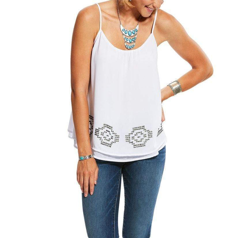 Ariat Womens Native Tank Top White (10026583) - Gympie Saddleworld & Country Clothing