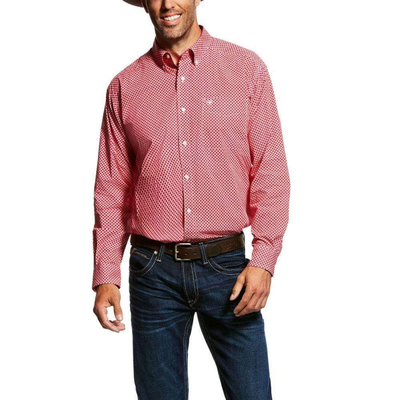 Ariat Mens Garry Long Sleeve Shirt Crimson Flame (10026484) - Gympie Saddleworld & Country Clothing