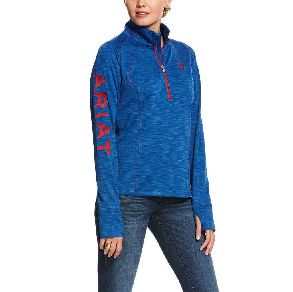Ariat Womens Jumpers & Hoodies Large / Blue Heather Ariat Womens Tek Team 1/2 Zip Vertical Blue Heather