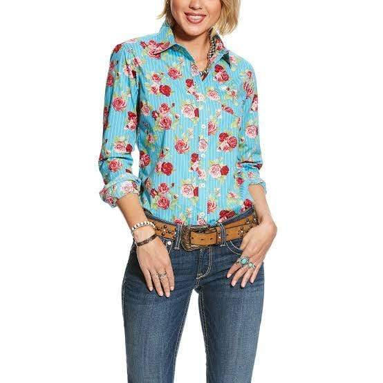 Ariat Womens Kirby Stretch Shirt Rose Print (10025846) - Gympie Saddleworld & Country Clothing