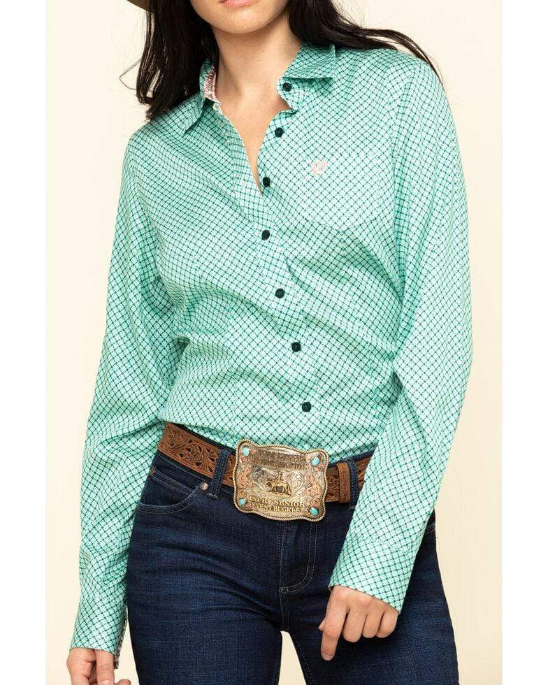 Cinch Womens Green Geo Shirt - Gympie Saddleworld & Country Clothing