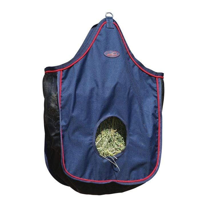 Eurohunter Stable Hay Feed Bag Eurohunter Navy Red Trim with Mesh Sides