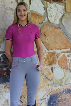 Black Horse Sam Pro Ladies Breeches Grey/Pink - Gympie Saddleworld & Country Clothing