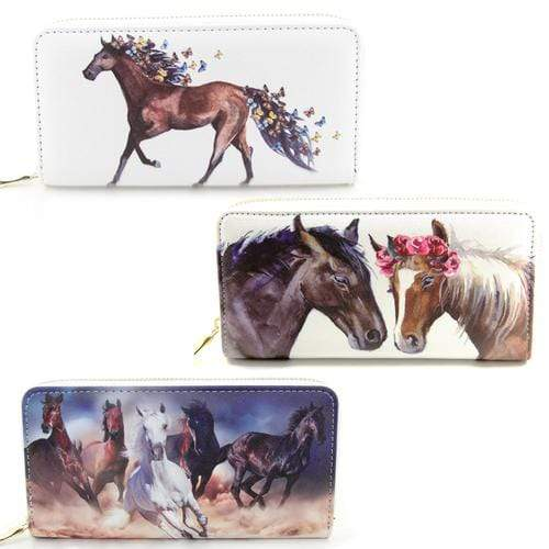 Brigalow Horse Heads with Flowers Faux Leather Wallet ( LW156 ) - Gympie Saddleworld & Country Clothing
