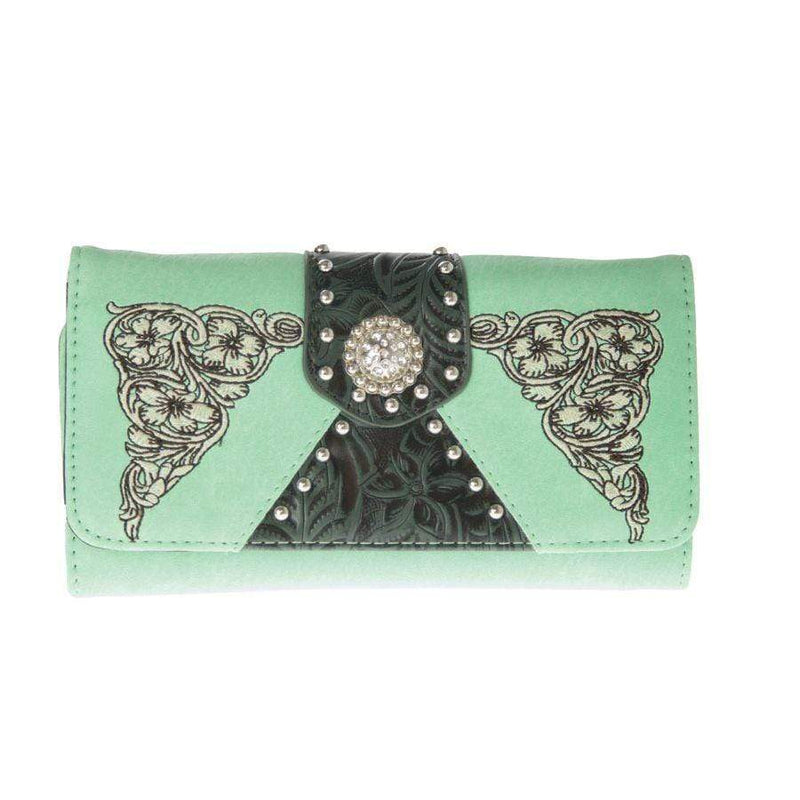 Brigalow Mint Green Faux Leather with Conchos Purse (LW5903GR) - Gympie Saddleworld & Country Clothing