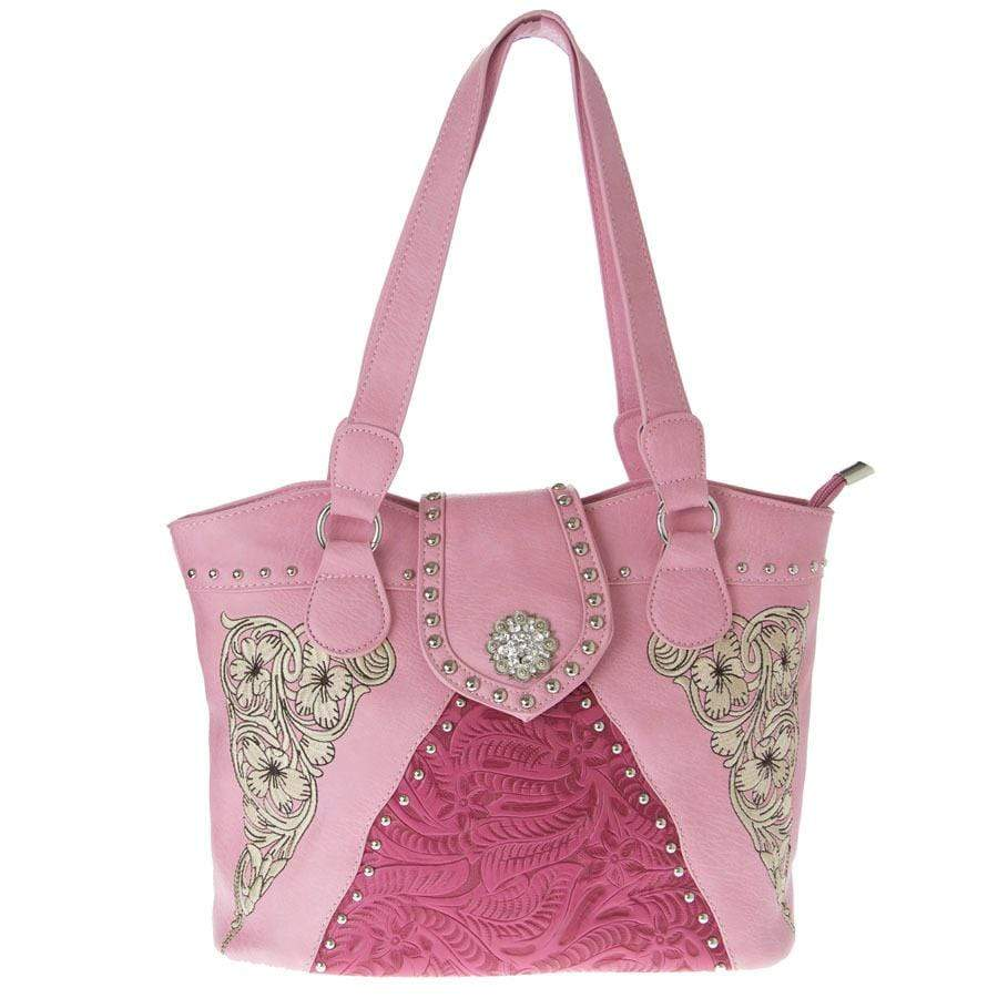 Brigalow Pink Faux Leather Silver Embroidery Handbag (LP5903PK) - Gympie Saddleworld & Country Clothing