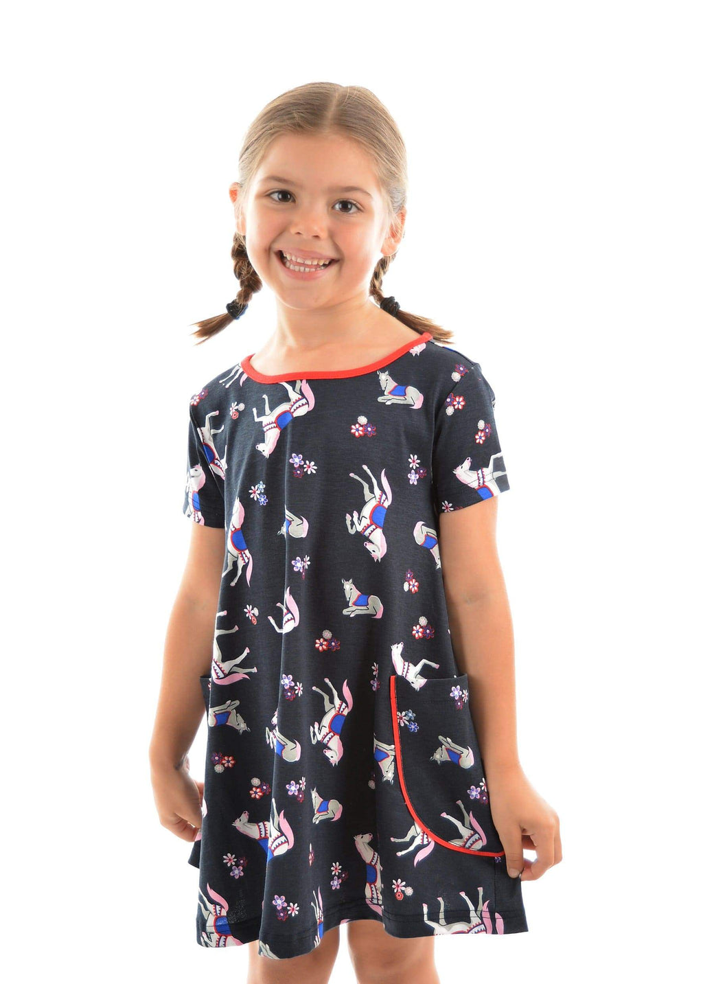 Gympie Saddleworld & Country Clothing DRESS 14 Thomas Cook Girls Horse Print Dress