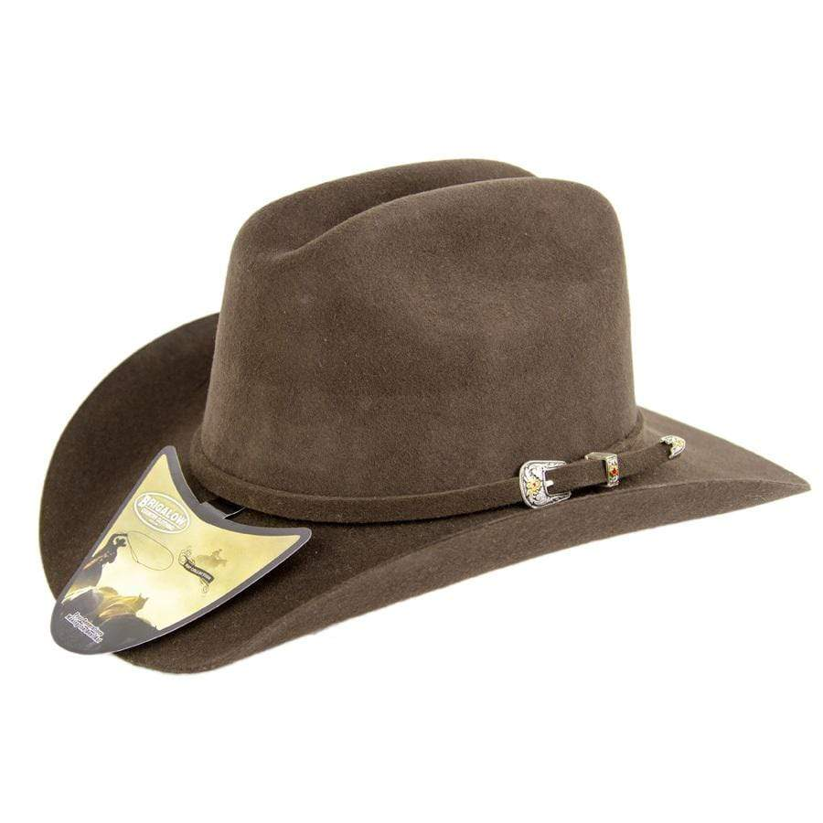 Gympie Saddleworld & Country Clothing Felt Hats 55 / Brown Brigalow Kids Elastic Band Western Wool Cattleman Felt Hat (175)