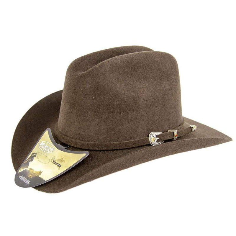 Brigalow Kids Elastic Band Western Wool Cattleman Felt Hat (175) - Gympie Saddleworld & Country Clothing