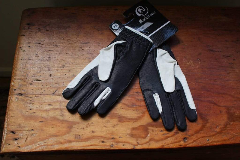 Black Horse Leather Navy/White Gloves - Gympie Saddleworld & Country Clothing