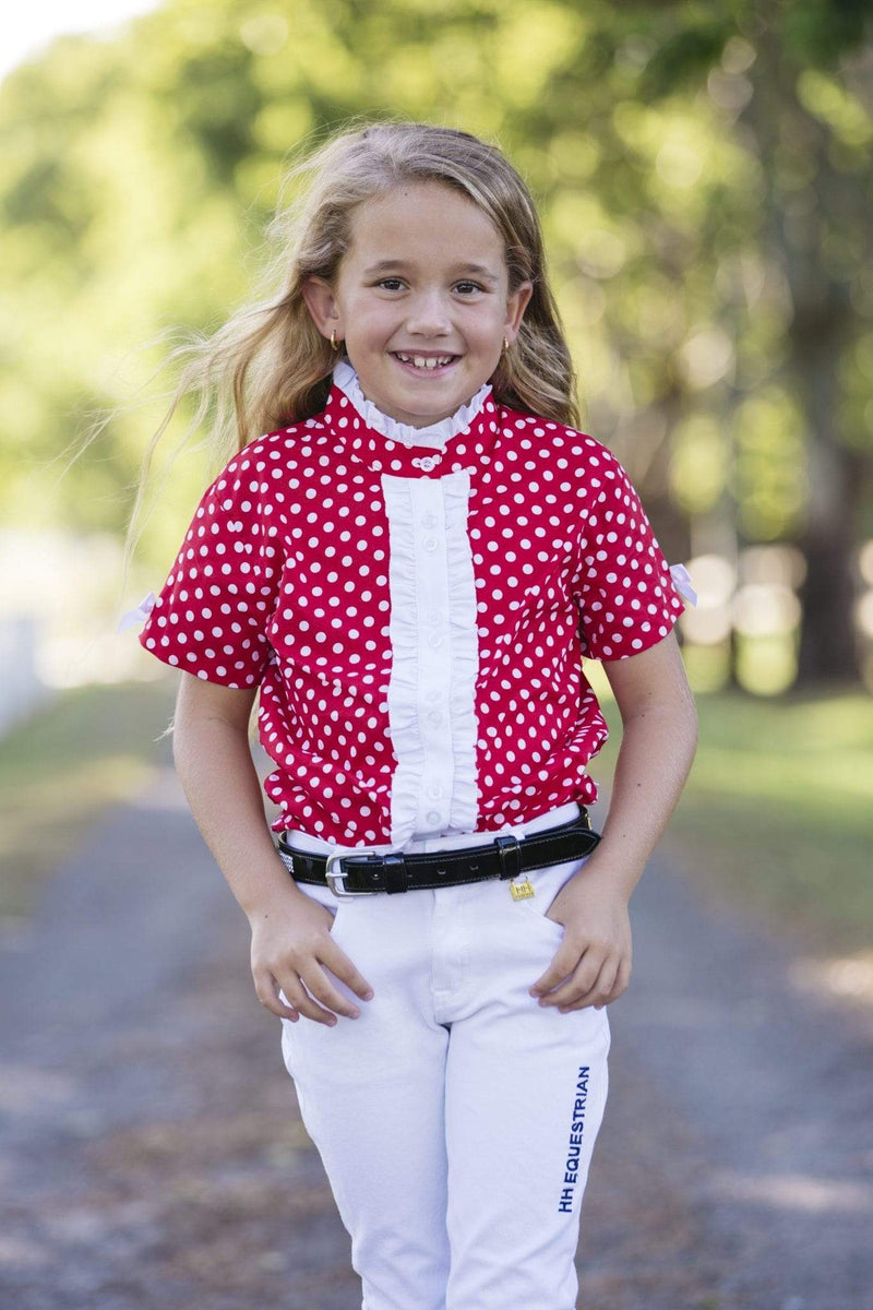 Hampton & Harlow Girls Red Polkadot SS Shirt - Gympie Saddleworld & Country Clothing