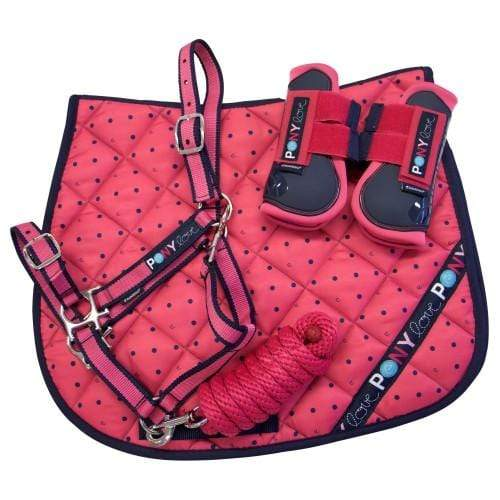 Bambino Pink Pony Pack - Saddlecloth, Halter & Lead, & Boots - Gympie Saddleworld & Country Clothing