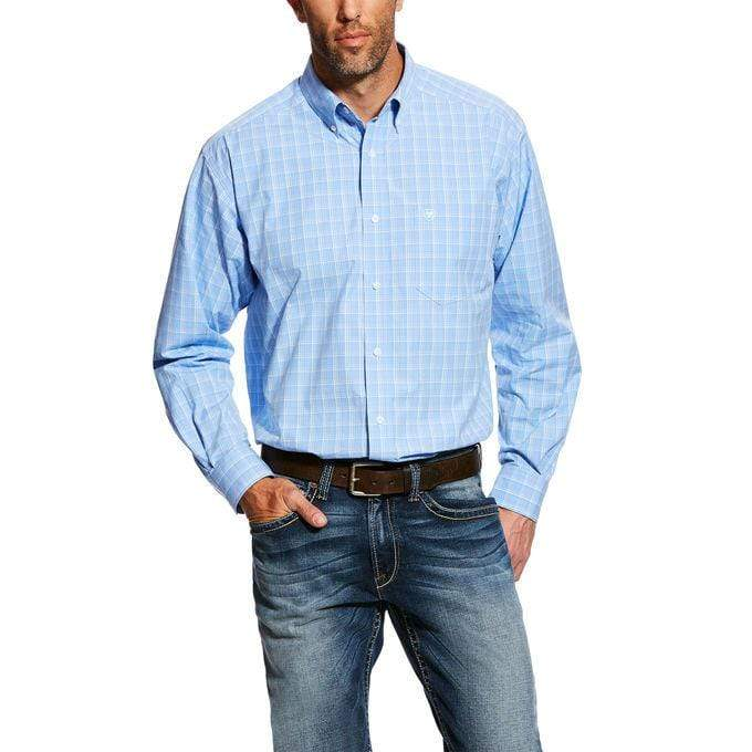 Gympie Saddleworld & Country Clothing small MEN'S Davidson LS Perf Shirt Vista Blue