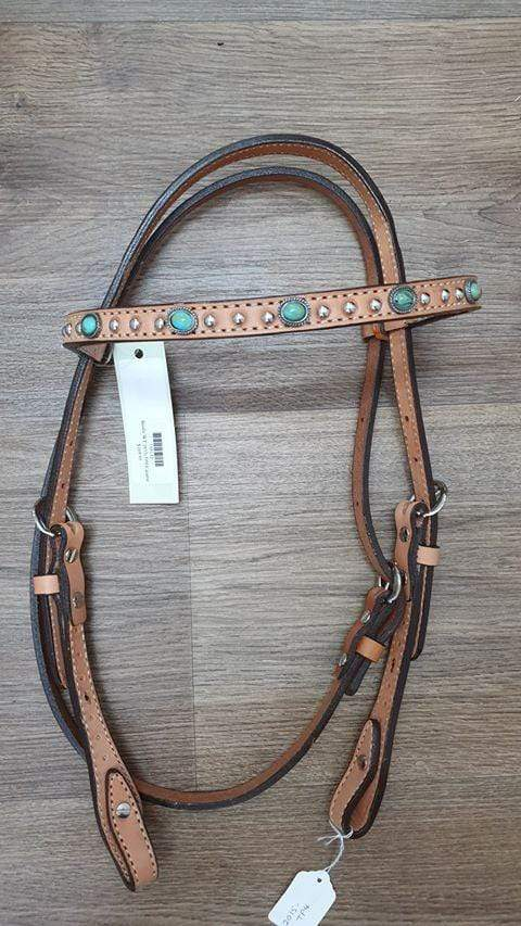 Gympie Saddleworld & Country Clothing western bridles & reins Cob-Full / Tan Bridle 2015-TP4 Caramel Toast Straight Brow with Turquoise Spots
