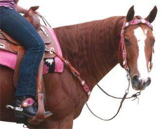 Gympie Saddleworld & Country Clothing western bridles & reins Full / Pink N.E.W Zebra Western Bridle