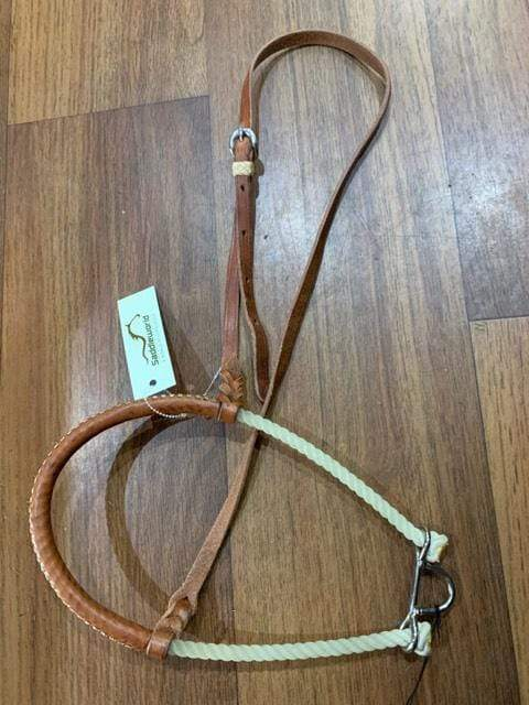 Gympie Saddleworld & Country Clothing western bridles & reins ONE SIZE Rope Tiedown Noseband with Leather Cover