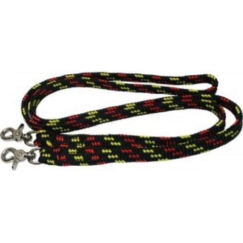 Rope Reins 7ft Black/Yelow/Red NP Snap One Piece 170504 - Gympie Saddleworld & Country Clothing