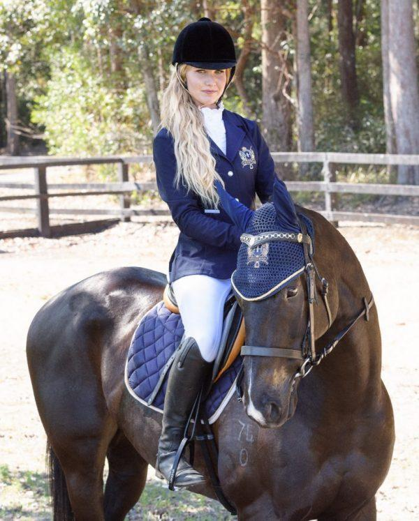 Hampton and Harlow Ear Bonnet Navy - Gympie Saddleworld & Country Clothing