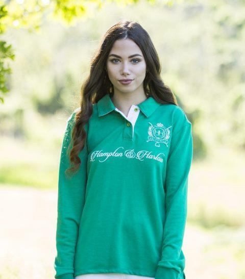 HH Equestrian Womens Jumpers & Hoodies 10 / Green HH Equestrian Green Rugby Jersey