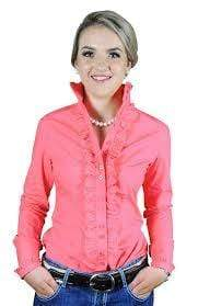Hitchley and Harrow Ladies Rich Coral Ruffle Shirt (F82) - Gympie Saddleworld & Country Clothing