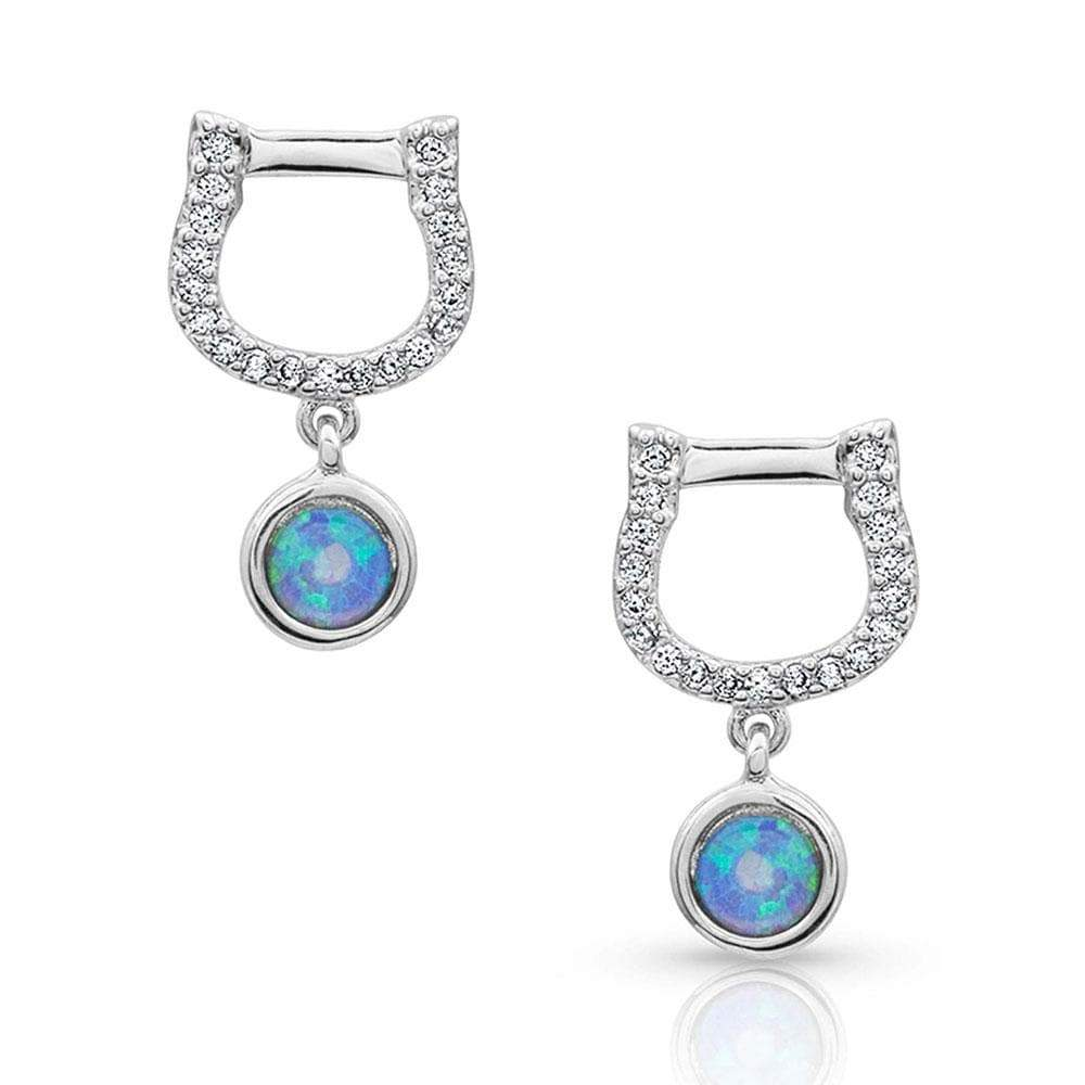 Montana Silver Horseshoe Opal Earrings - Gympie Saddleworld & Country Clothing