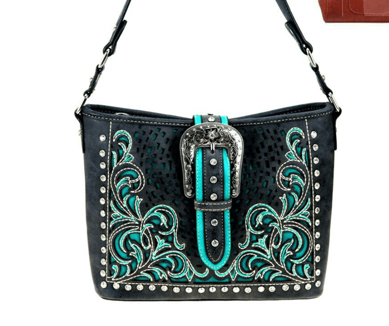 Montana West Buckle Collection Handbag MW848G-918BK Black - Gympie Saddleworld & Country Clothing