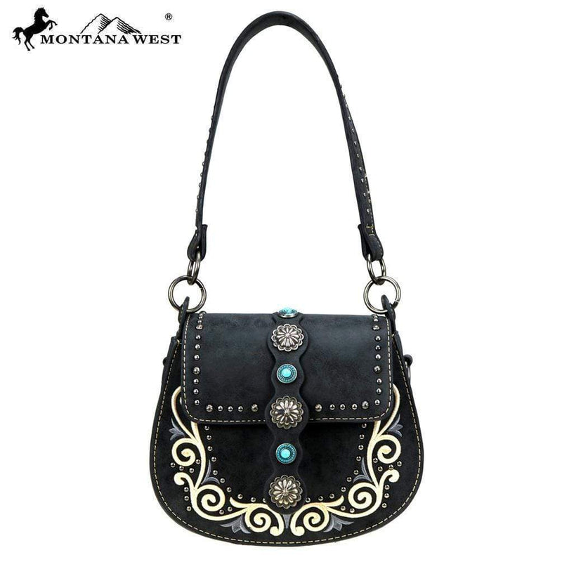 Montana West Concho Collection hobo Crossbody MW894-8360BK Black - Gympie Saddleworld & Country Clothing
