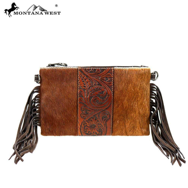 Montana West Hair on Cowhide Leather Fringe Clutch Crossbody Handbag RLH-023 - Gympie Saddleworld & Country Clothing