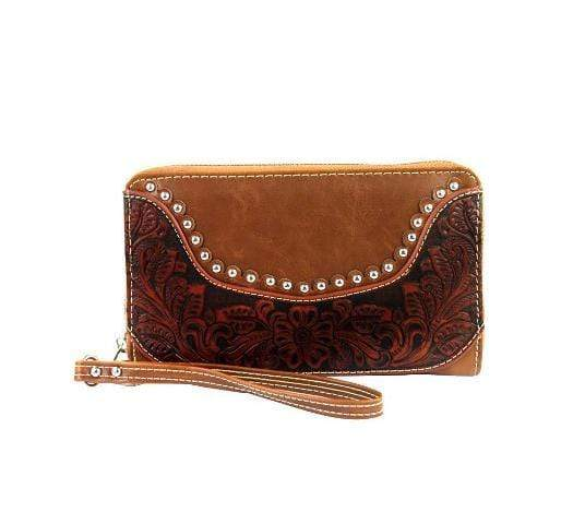 Montana West Handbags & Wallets Montana West Tooling Collection Wallet/Wristlet Brown WRL-W003BR