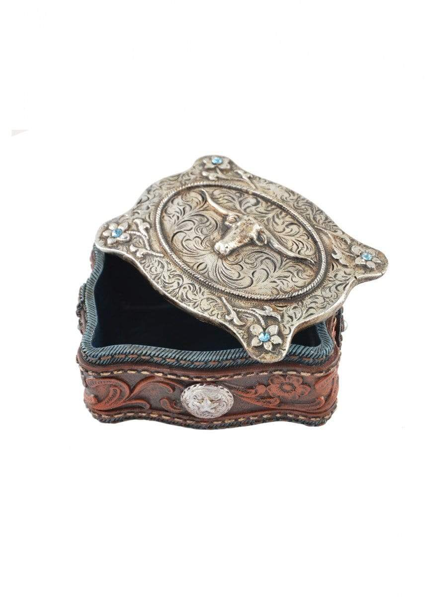 Jewellery Box Pure Western Leather Look & Silver Steer Head P9S1908GFT - Gympie Saddleworld & Country Clothing