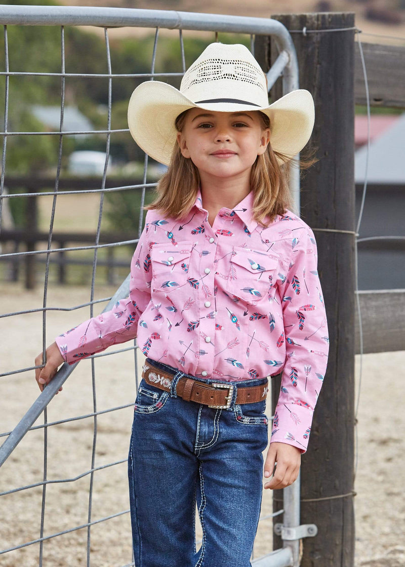 Prue Western Girls Lilliam Shirt Pink and Multi (P9S5100274) - Gympie Saddleworld & Country Clothing