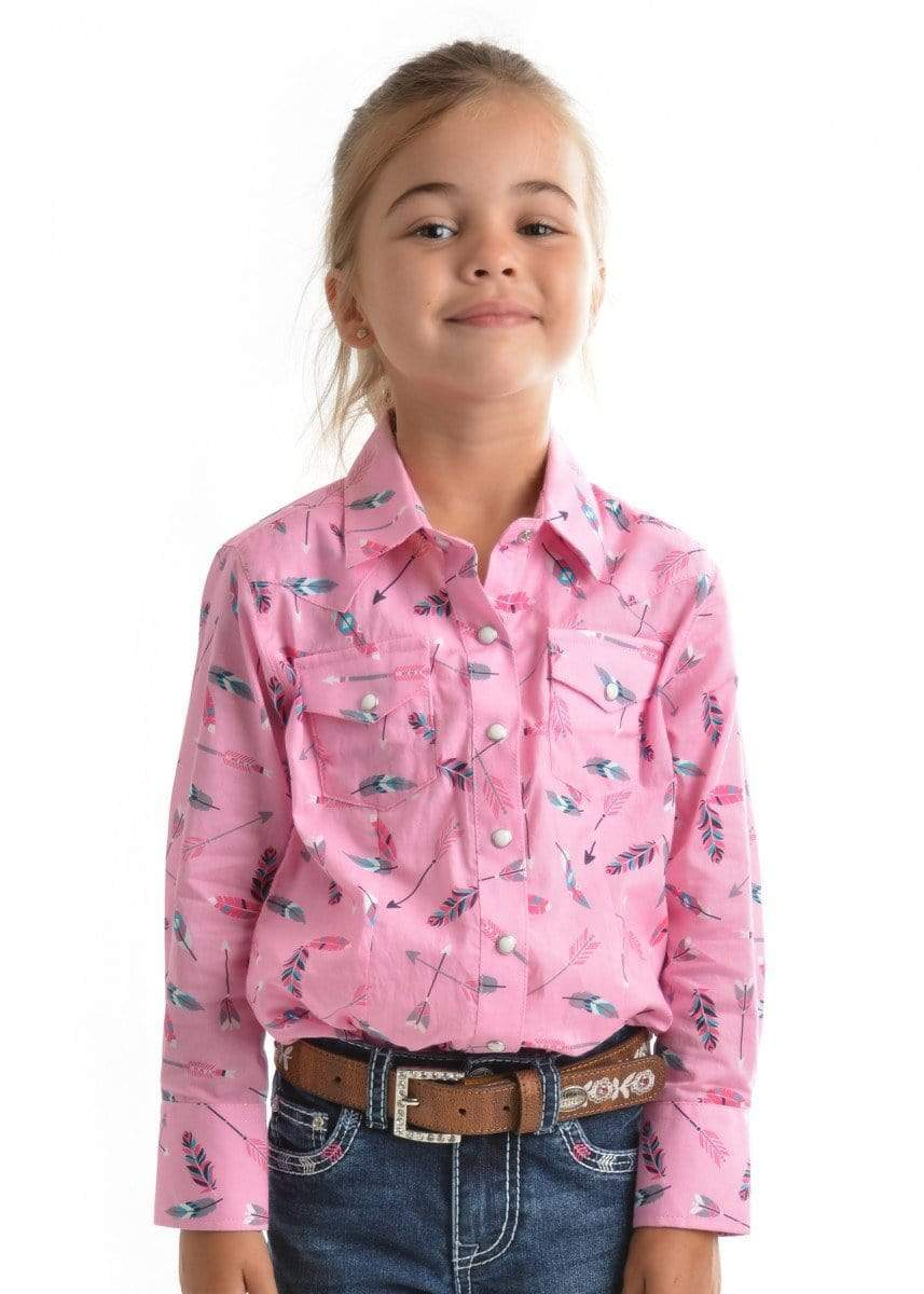 Pure Western Kids Shirts Prue Western Girls Lilliam Shirt Pink and Multi (P9S5100274)